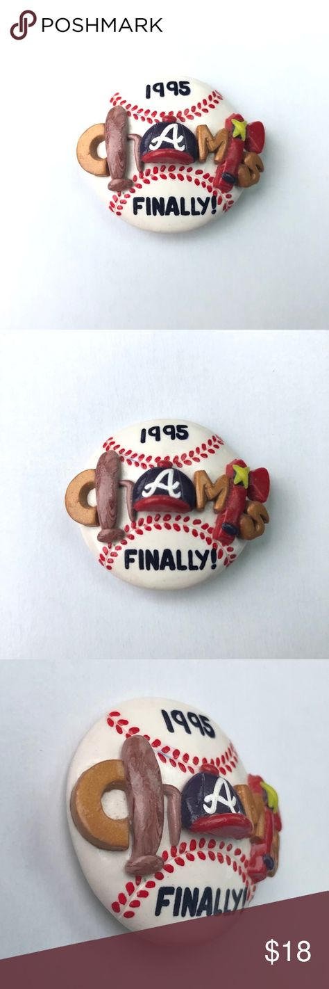 "Vtg Atlanta Braves 1995 Champs 3D Pin Cute 3D molded pin to celebrate the 1995 Braves World Series win * Baseball with painted stitching & Braves symbols creating the letters in CHAMPS  * Some yellowing from the adhesive is visible on the back pin closure * Approx 1.5"" diameter * Excellent vintage condition with no original packaging - will be shipped in a new gift box Vintage Jewelry Brooches"