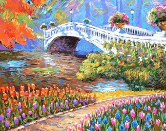 ARTFINDER: Park oil Painting with palette knife . by Dmitry Spiros - Park oil Painting with palette knife by Dmitry Spiros. Size 28 x 36 in, 70 x 90 cm, 2015 The original painting is sold, this painting is Recreation of an .