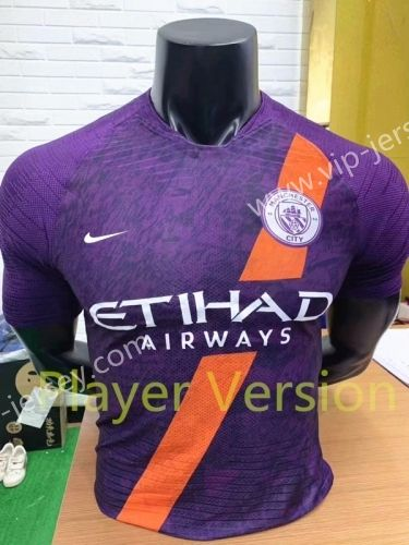 Player Version 2018 19 Manchester City 2nd Away Purple Thailand Soccer Jersey Aaa