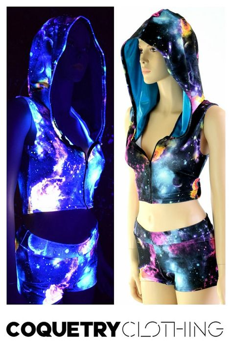 UV Glow Galaxy Print Sleeveless Zipper Front Hoodie & Midrise Shorts Set with Peacock Blue Hood Liner 152378