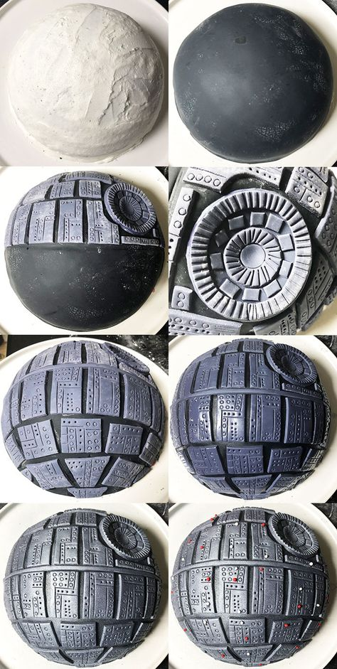 Easy star wars cake recipe, tutorial (Death Star cake), homemade with simple ingredients. Chocolate cake with vanilla buttercream and decorated in fondant. Star Wars Torte, Bolo Star Wars, Star Wars Cake Toppers, Star Wars Cupcakes, Star Wars Cookies, Star Wars Birthday Cake, Superhero Birthday Cake, Birthday Cakes, Lego Cake