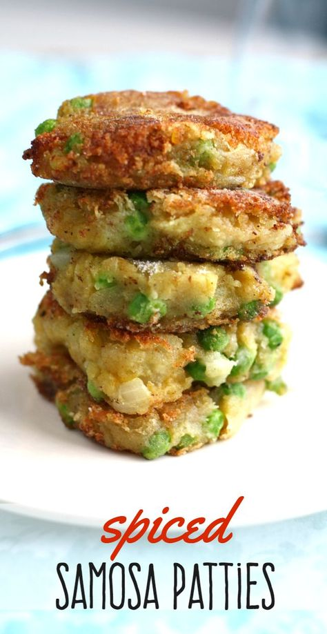 Make these savory patties and enjoy with a salad for a quick dinner! From Deliciously addictive spiced samosa patties! Make these savory patties and enjoy with a salad for a quick dinner! Veggie Dishes, Veggie Recipes, Whole Food Recipes, Cooking Recipes, Healthy Recipes, Curry Recipes, Indian Vegetarian Recipes, Chickpea Flour Recipes, Healthy Vegetarian Recipes