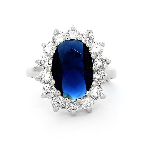 Sterling Silver & Oval Blue Sapphire and CZ Princess Diana/Kate Middleton Engagement Ring