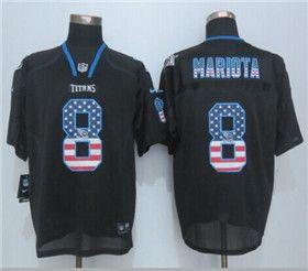 new concept 9d4ed 6a914 Tennessee Titans #8 Marcus Mariota Elite Black USA Flag ...