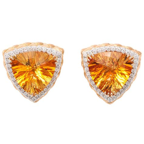 Vibrant citrine & diamond earrings.