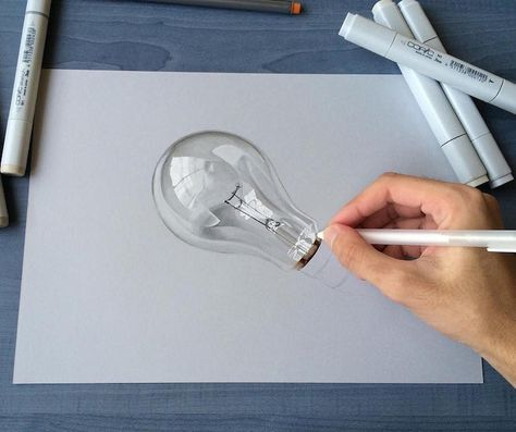 Hyperrealistic 3d Drawings By Sushant Rane Bulb 2 3d Art Drawing 3d Drawings 3d Drawing Techniques
