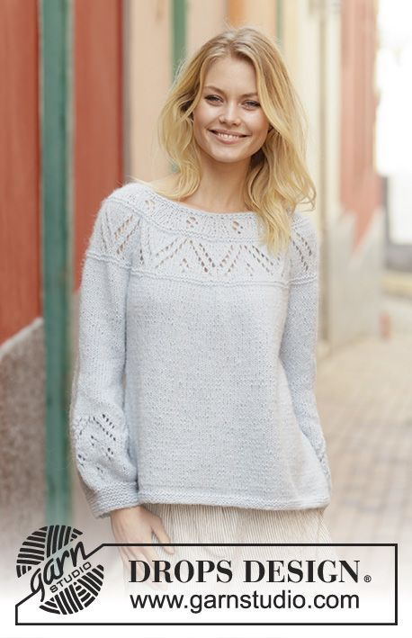 Knitted Sweater With Round Yoke In Drops Air The Piece Is Worked