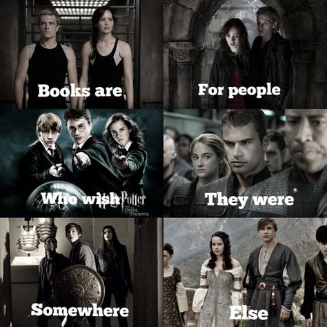 I love books. -The Hunger Games -The Mortal Instruments -Harry Potter -Divergent -Percy Jackson -The Chronicles Of Narnia I Love Books, Good Books, Books To Read, My Books, Book Memes, Book Quotes, Sad Quotes, Citations Film, Fandom Quotes