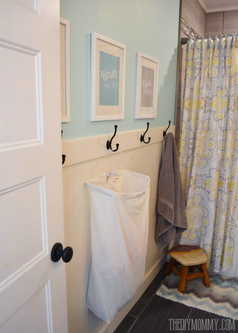 Skip the towel rod and replace with hooks. We love these hooks paired with the beauty of beadboard. Bathroom Storage Ideas for Small Spaces; solutions for your everyday family. Bathroom Hacks and Tricks you wish you knew yesterday.