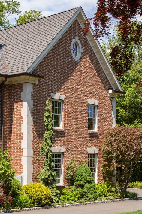 Belgium HMOS Brick By Glen Gery Home House Exterior Red Tan Handmade Quoins Windows Radial Ent