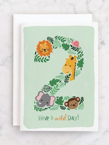 Have A Wild Day For The 2 Year Old Birthday Boy Or Girl The Cutest Kids Birthday Cards All Part Of Old Birthday Cards Girl Birthday Cards Kids Birthday Cards