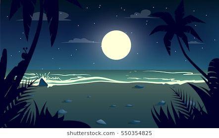 Moonlight Night At The Beach Cartoon Style Vector Illustration Beach Illustration Beach Cartoon Landscape Illustration