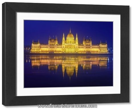 Print of The Parliament of Hungary with the Danube river (Budapest, Hungary) in the night
