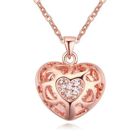 Allencoco любовь heart18k позолоченные ожерелье с Austrial кристалл для свадьбы