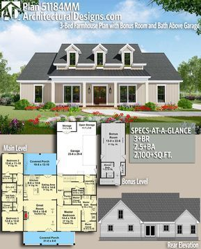 Plan 51184mm 3 Bed Farmhouse Plan With Bonus Room And Bath Above Garage In 2020 Architectural House Plans Modern Farmhouse Plans Building Plans House