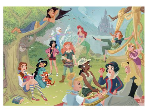 Disney Princesses on a Picnic by buttercupLF on DeviantArt