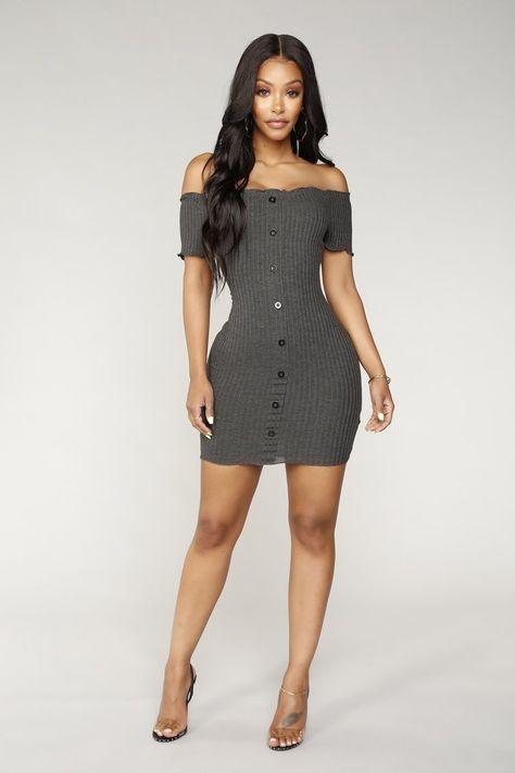 Katherine Off Shoulder Mini Dress - Charcoal