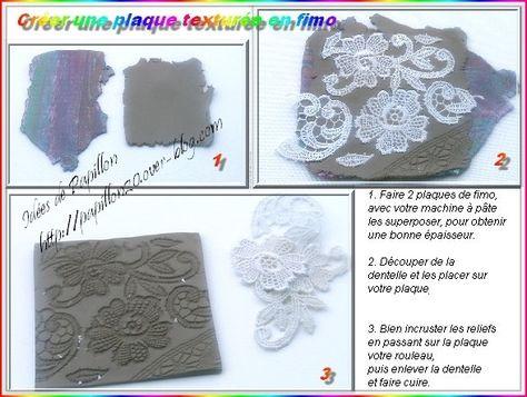 Idées de Papillon: Créer une plaque de texture en fimo avec de la dentelle