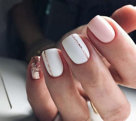 Pink And Rose Gold Glitter Nails. Pink And White Nails. Pink And Rose Gold Glitter Nails. Pink And White Nails.