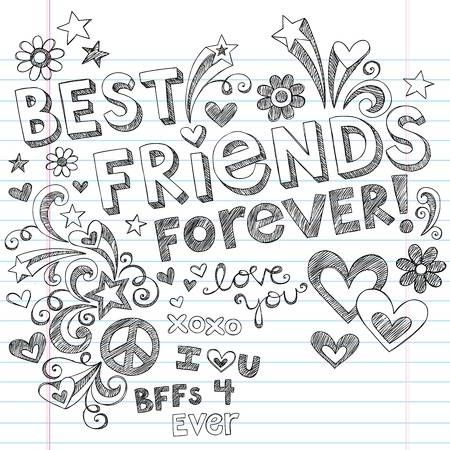Hand Drawn Best Friends Forever Love Hearts Sketchy Back To Drawings Of Friends Friends Illustration Best Friend Drawings
