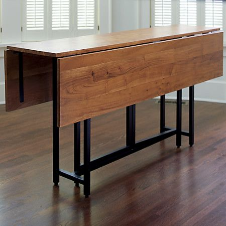 Dining room table that folds lengthwise to get out of the way when ...