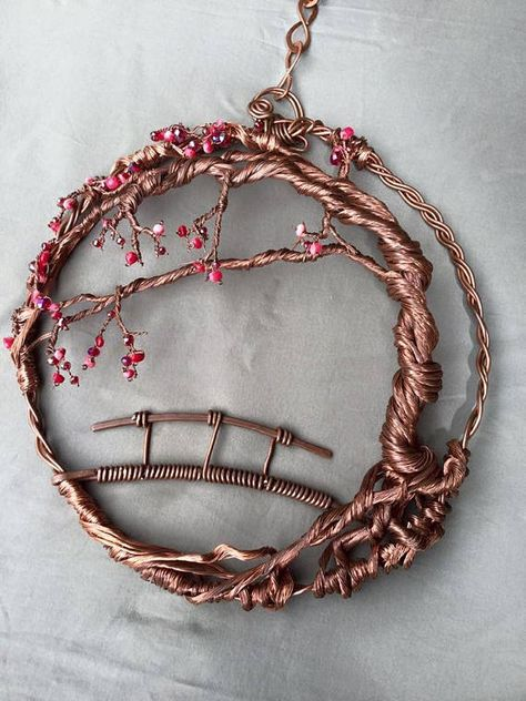 ***** Handmade to order ****** Beautiful handmade cherry blossom tree of life copper suncatcher entirely designed and created by me using only unused recycled copper wires in different gauges shaped and sculpted onto a widely Japanese inspired scene. I used 4 thick 12 gauges of