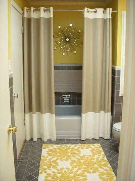 Split Shower Curtain With Wall Art And Floor Rug For Pop Of Color