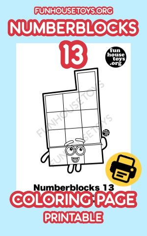Numberblocks Number 13 Available As Printable Coloring Page On Our Website Fun Printables For Kids Learning Worksheets Printable Coloring Pages