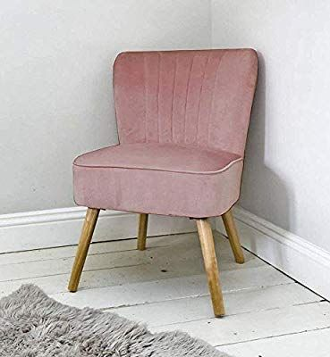 Sue Ryder Velvet Oyster Style Accent Chair Rose Pink Wooden Legs