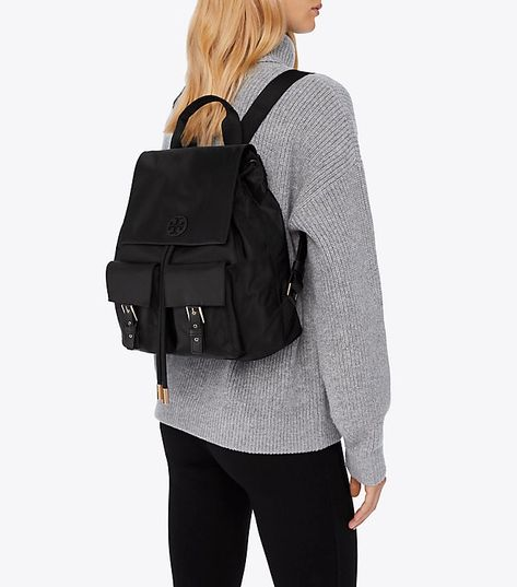 Tory Burch Tilda Nylon Flap Backpack - Black