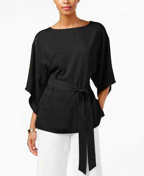 Eci Kimono-Sleeve Tie-Waist Blouse