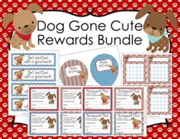 This puppy bundle features five great items to give to your students for rewards or incentives.  -Bookmarks-  Each bookmark measures 2 1/4 x 7 1/2 inches. There are 4 bookmarks on a sheet and 4 different sheets.  Print on cardstock, trim and laminate for sturdiness.