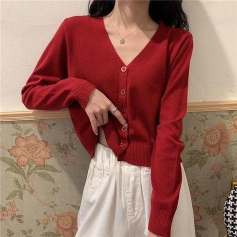 Korean Style V-neck Knitted Sweaters Women Casual Thin Single-breasted Cardigan 2021 Autumn Fashion Long Sleeve Solid Sweater - One Size / red