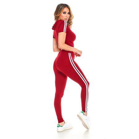 Missfit - Missfit Women's Active Track Set Hoodie Crop Top/leggings Varsity  Stripe Athleisure Maroon Small - Walmart.com   Crop top and leggings, Crop  top hoodie, Crop tops