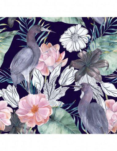 Welur Tapicerski Akwarela Kwiaty Ptaki Floral Wallpaper Mural Wallpaper Dark Floral