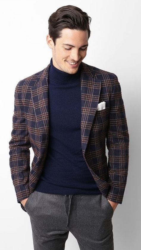 590e4ee0bd74 Fall business casual combo with a navy turtleneck navy red plaid blazer  white pocket square gray