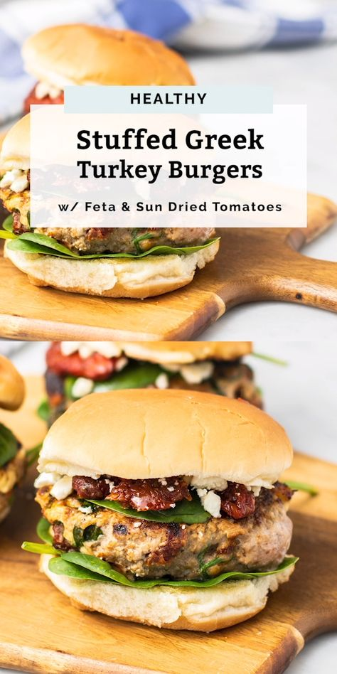 These Greek Turkey Burgers are a HUGE family favorite. They're a quick and easy recipe, perfect for grilling season (or anytime really!). Stuffed with sautéed spinach, chopped sun dried tomatoes and feta for a flavorful combination. Great with a bun or even bun-less on a salad for a keto burger recipe. If following a dairy free diet, try subbing the feta for a plant based feta! You can't go wrong with these healthy burgers. #turkeyrecipes #turkeyburger #easydinner #recipe