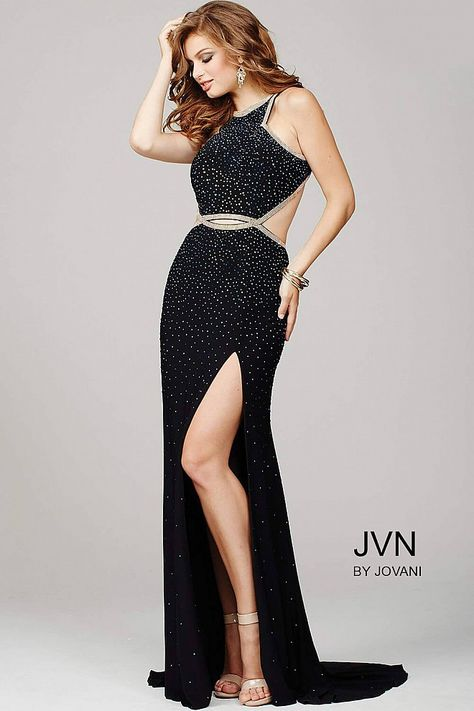 eb56a3c5841 Sexy black floor length fitted beaded jersey prom dress features high slit  and a sleeveless bodice with high neckline