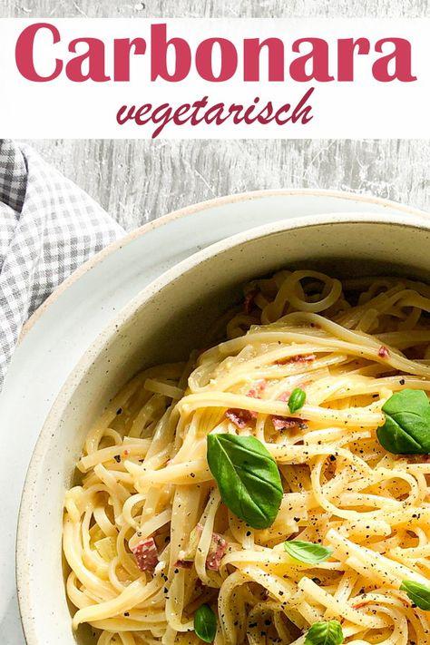 Carbonara in der vegetarischen Version, ohne Sahne, mit Eiern, mit labfreiem Hartkäse und vegetarischen Mini-Salami-Würfeln, Thermomix, Familienküche, unter 30 Minuten Rezept