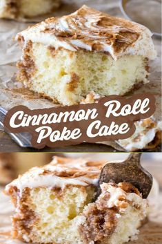 What makes a cinnamon roll even better? Turn it into a cake! This white cake with cinnamon sugar filling and cream cheese frosting is so sweet! #dessert #dessertrecipe #cinnamonroll #pokecake