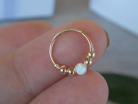 Opal cartilage earring, helix earring, conch earring, Small Opal cartliage Ring, tiny hoop nose, Extra Small Gold Opal Nose Ring