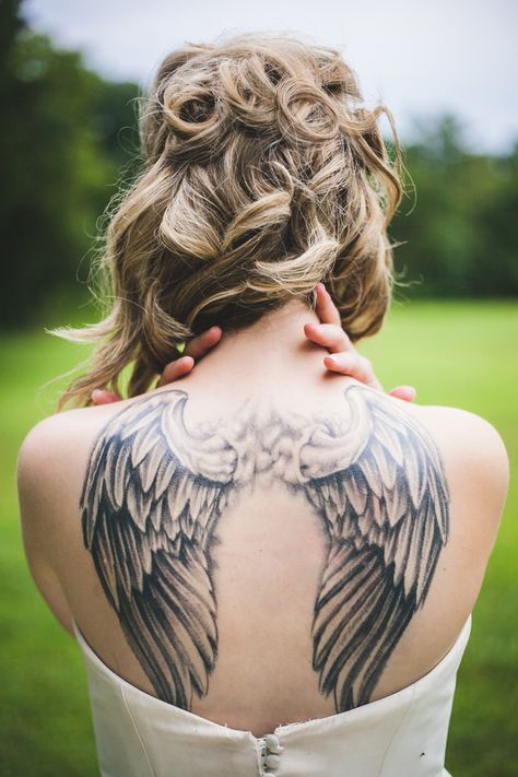 Elaborate Angel Wing Tattoo | Maddie K. Doucet Photography | See More! http://heyweddinglady.com/punk-princess-bride-wedding-styled-shoot-fr...