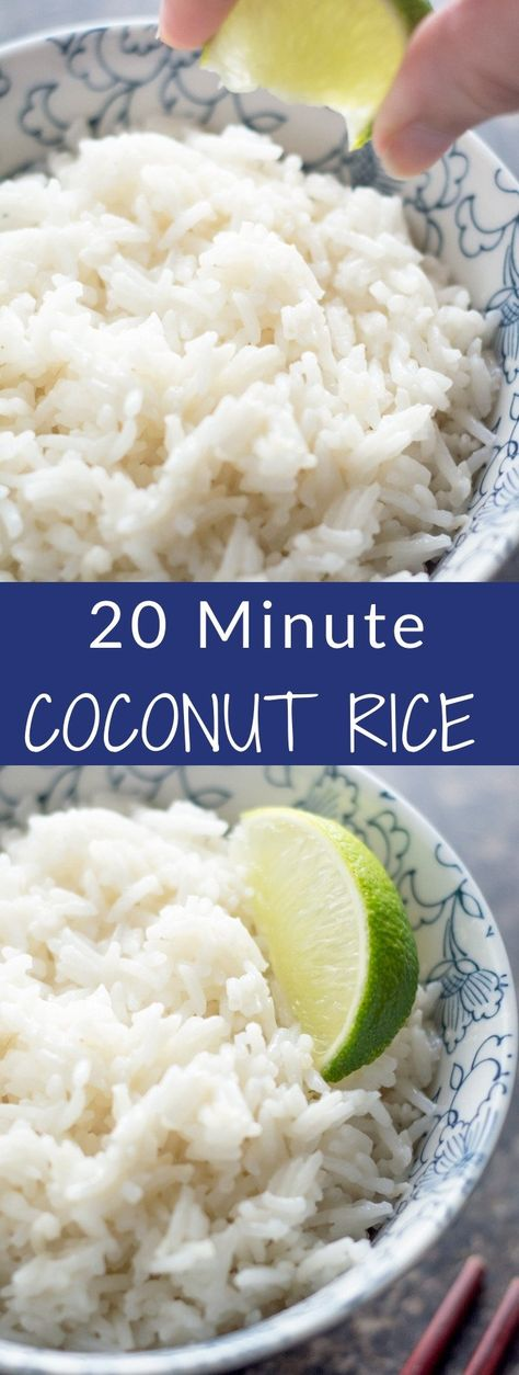 20 Minute Coconut Rice Only 5 ingredients and is ready in just over 20 minutes Pair it with stir fry chicken or salmon for a quick weeknight dinner Side Dish Recipes, New Recipes, Vegetarian Recipes, Cooking Recipes, Favorite Recipes, Healthy Recipes, Coconut Recipes, Healthy Foods, Recipies