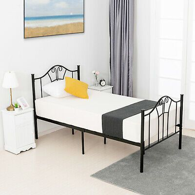 Details About Twin Xl Size Metal Bed Frame Steel Headboard