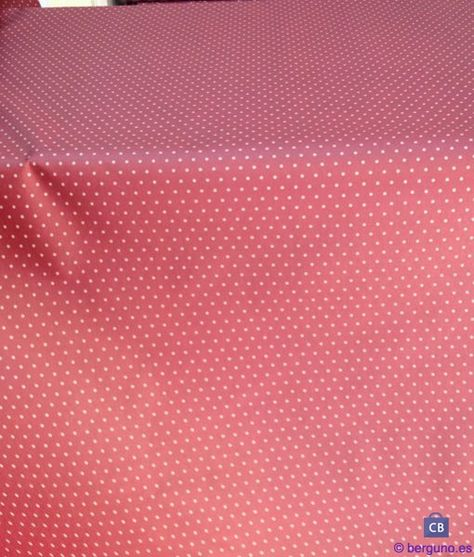 Tela de Mantel Resinado Antimanchas Granate con Lunares. Mezcla Algodón/Poliester resinado y teflonado Ancho 155 cm.