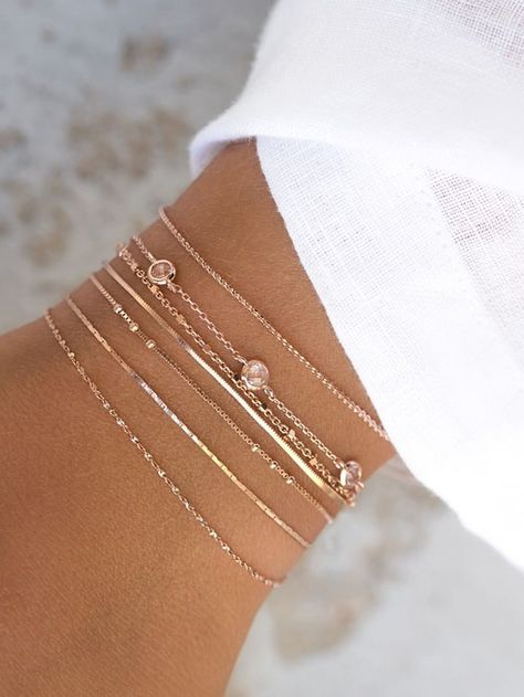Set of 7 gold summer bracelets with small pink stones, made in our Parisian workshop Summer Bracelets, Dainty Bracelets, Dainty Jewelry, Cute Jewelry, Women's Jewelry, Chain Bracelets, Bullet Jewelry, Gothic Jewelry, Arm Party