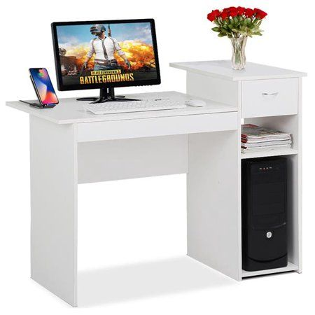 White Compact Computer Desk With Drawer And Shelf Small Spaces Home Office Furniture Walmart Com White Computer Desk Small Office Furniture Compact Computer Desk