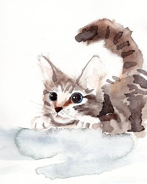Kitten Watercolor Print Cat Art 8x10 Or 4x6 Pounce Home Sweet