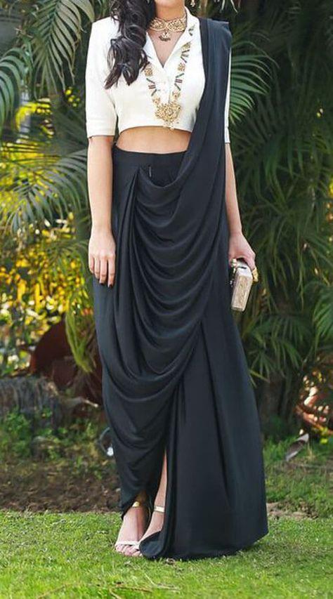 Black Lycra Dhoti Style Saree for Festival