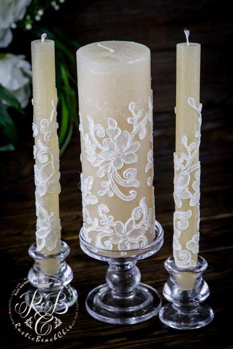 Jahrgang Hochzeit Kerzen Spitze Einheit Kerze Rustikale Hochzeit